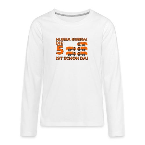 Piąte urodziny prezent dla chłopca śmieciarka - Koszulka Premium z długim rękawem dla nastolatków
