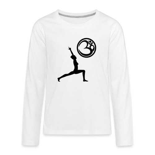 Der Held Yoga Asana Warrior mit OM Symbol Cool - Teenager Premium Langarmshirt