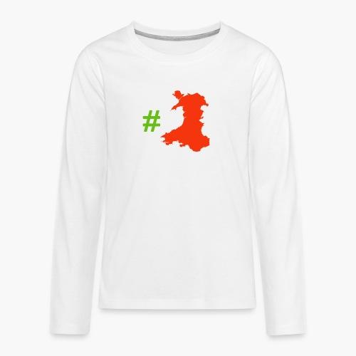 Hashtag Wales - Teenagers' Premium Longsleeve Shirt