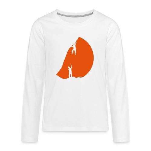 Boulderer mit Spotter im Sonnenuntergang - Teenager Premium Langarmshirt