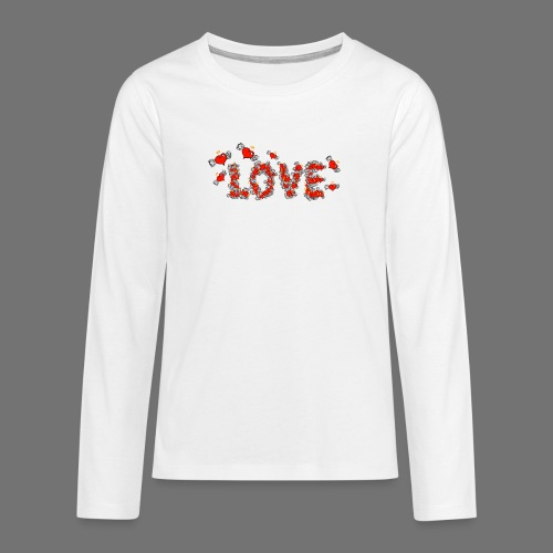 Flying Hearts LOVE - Teenagers' Premium Longsleeve Shirt
