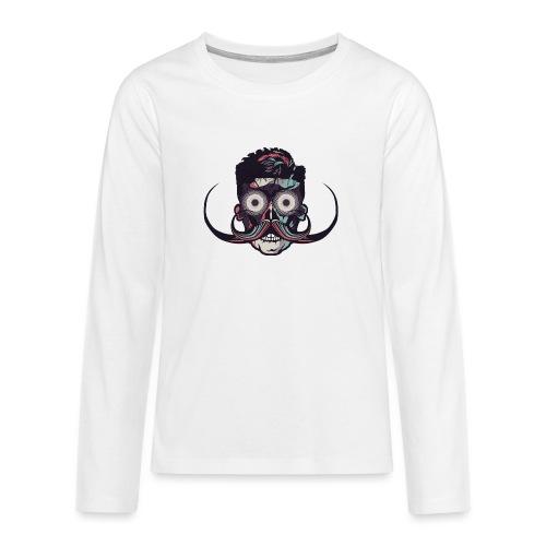hipster tete de mort crane barbu skull moustache b - T-shirt manches longues Premium Ado
