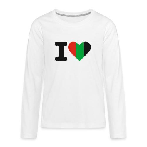 hartjeroodzwartgroen - Teenager Premium shirt met lange mouwen