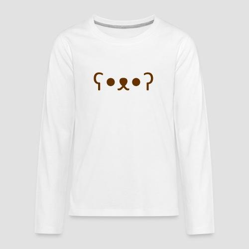 Kuma Kaomoji (Marron) - T-shirt manches longues Premium Ado