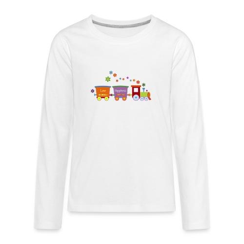 Eisenbahn Kinderspielzeug Zug Frühlingsblumen bunt - Teenagers' Premium Longsleeve Shirt