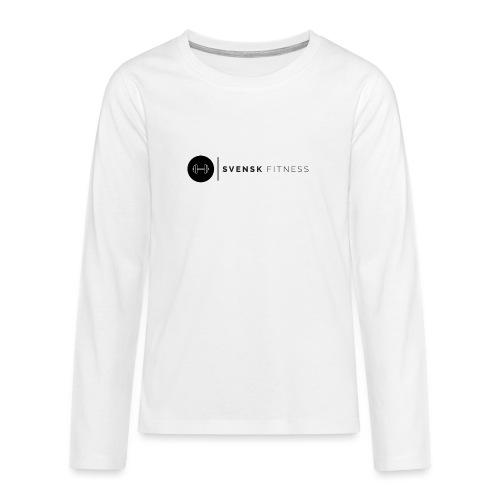 Svart logo vertikal dam - Långärmad premium T-shirt tonåring