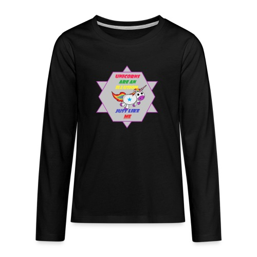 Unicorn with joke - Teenagers' Premium Longsleeve Shirt