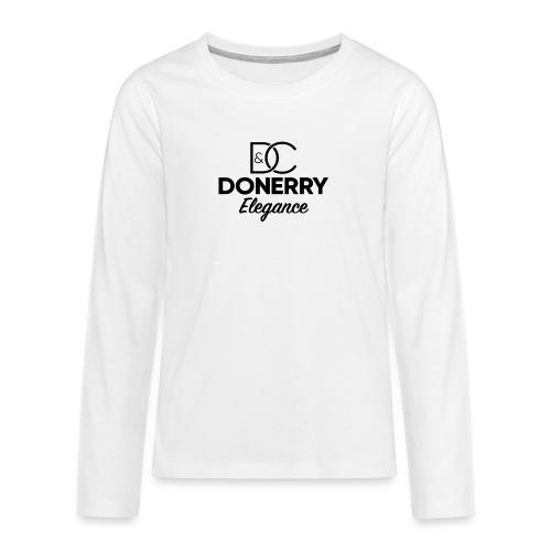 Donerry Elegance Black Logo on White - Teenagers' Premium Longsleeve Shirt