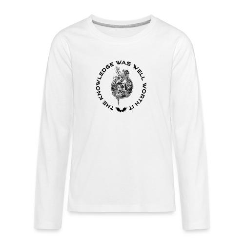 Knowledge WhiteSkull - Teinien premium pitkähihainen t-paita