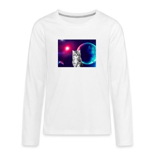 Cute cat in space - Teinien premium pitkähihainen t-paita