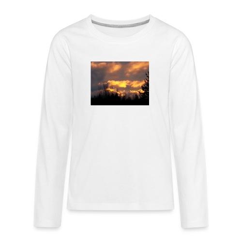 Iltarusko - Teinien premium pitkähihainen t-paita