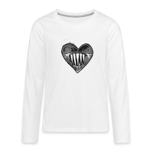 Corazón Negro - Camiseta de manga larga premium adolescente