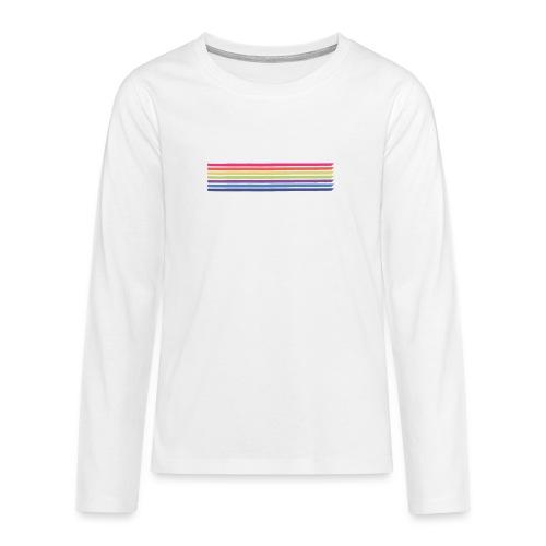 Farvede linjer - Teenager premium T-shirt med lange ærmer