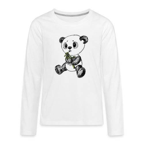 Panda bjørn farvet scribblesirii - Teenager premium T-shirt med lange ærmer