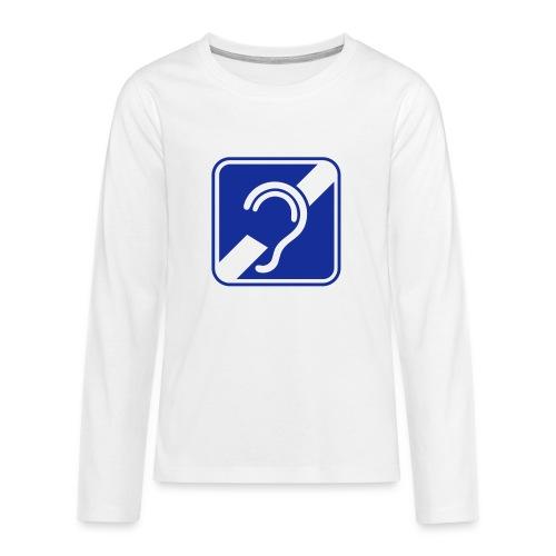 doven. Slechthorend, doofheid, gehoorverlies teken - Teenager Premium shirt met lange mouwen