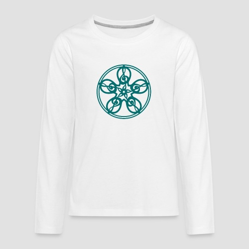 Treble Clef Mandala (teal) - Teenagers' Premium Longsleeve Shirt