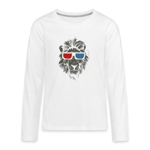Lion 3D - Långärmad premium T-shirt tonåring