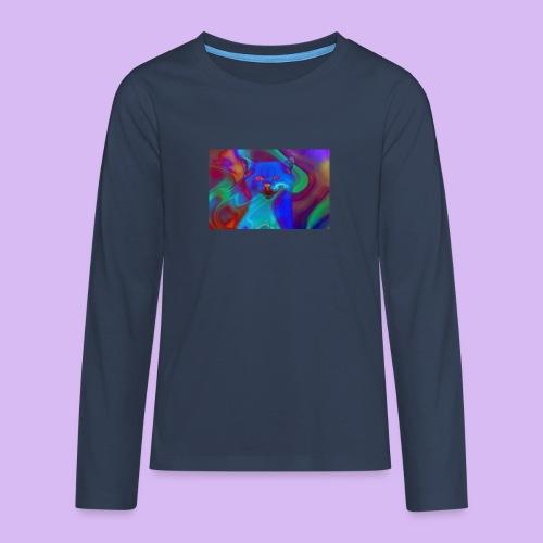 Gattino con effetti neon surreali - Maglietta Premium a manica lunga per teenager