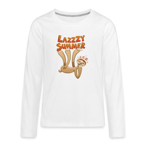 Sleepy sloth yawning and enjoying a lazy summer - Teenagers' Premium Longsleeve Shirt