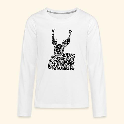 deer black and white - Teinien premium pitkähihainen t-paita