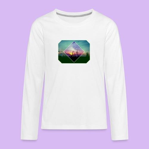 Tramonto in risalto tra figure geometriche - Maglietta Premium a manica lunga per teenager