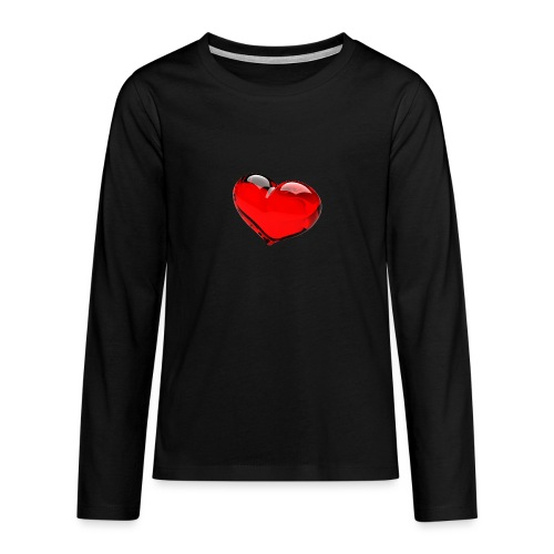 serce 3D - Koszulka Premium z długim rękawem dla nastolatków