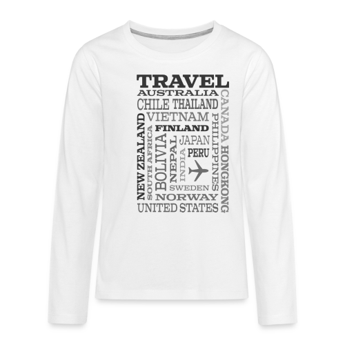 Travel Places Gray design - Teinien premium pitkähihainen t-paita