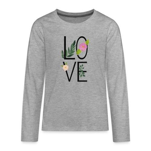 Love Sign with flowers - Teenagers' Premium Longsleeve Shirt