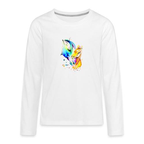 Jument et son poulain - T-shirt manches longues Premium Ado