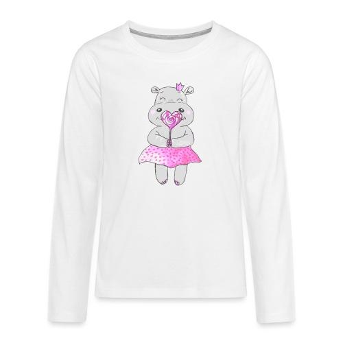 Happy Hippo - Teenager Premium Langarmshirt