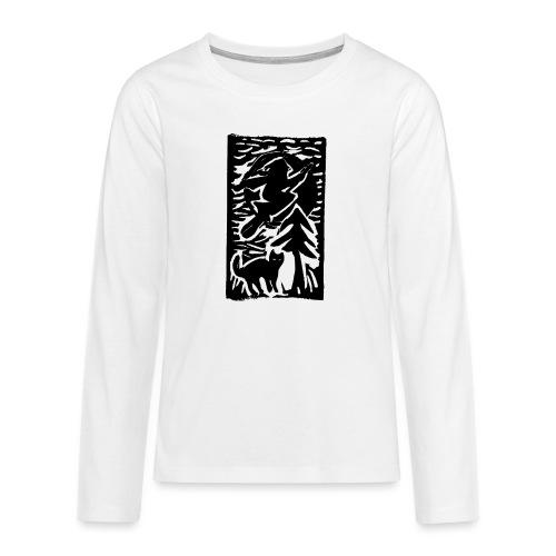 Hexe mit Katze - Teenager Premium Langarmshirt