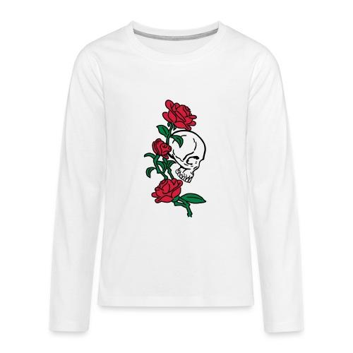 teschio e rose es123_2 - Maglietta Premium a manica lunga per teenager