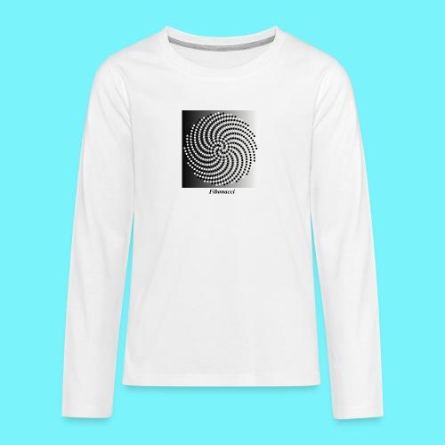 Fibonacci spiral pattern in black and white - Teenagers' Premium Longsleeve Shirt