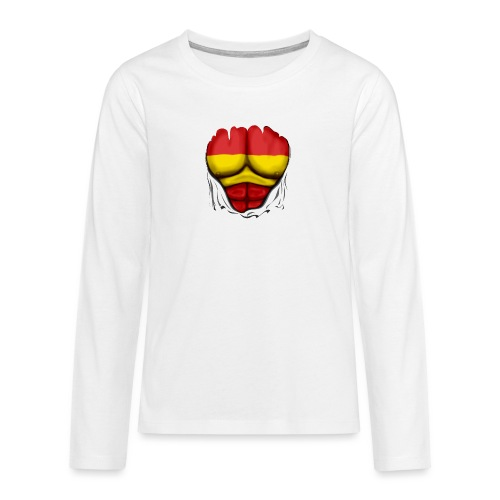 España Flag Ripped Muscles six pack chest t-shirt - Teenagers' Premium Longsleeve Shirt