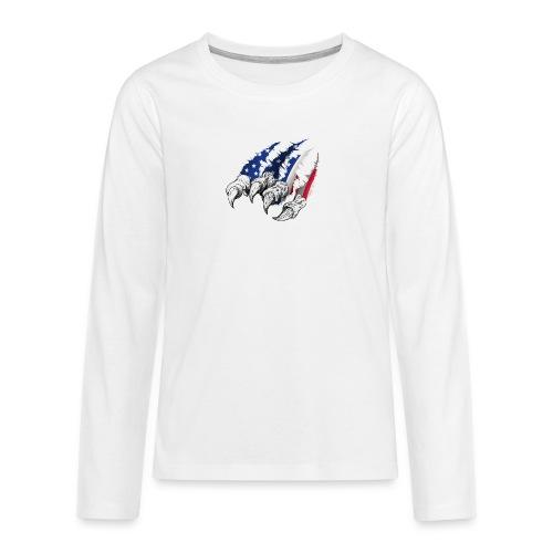 American Flag Claw - Teenagers' Premium Longsleeve Shirt