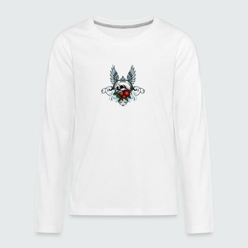 Skull Rose & Wing - Maglietta Premium a manica lunga per teenager