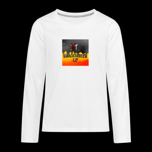 Waschbeer Design 2# Mit Flammen - Teenager Premium Langarmshirt