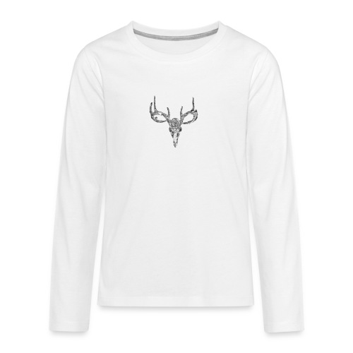 Deer skull with rose - Teinien premium pitkähihainen t-paita