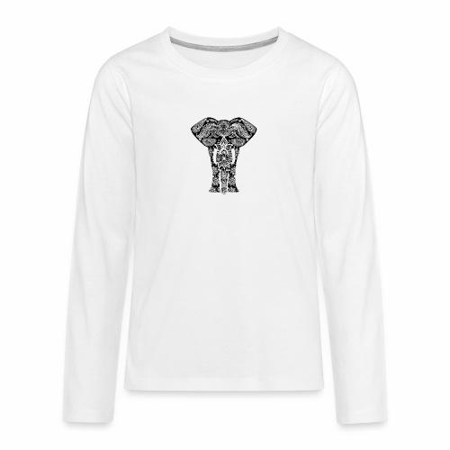 Ażurowy słoń - Koszulka Premium z długim rękawem dla nastolatków
