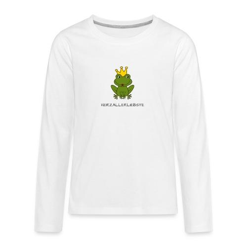 Froni mit Schriftzug Herzallerliebste (schwarz) - Teenager Premium Langarmshirt