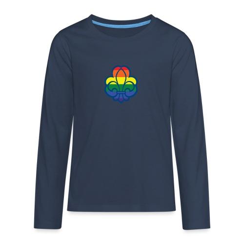 Regnbuespejder hvide t-shirts - Teenager premium T-shirt med lange ærmer