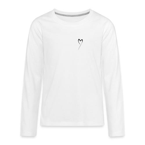 Line Heart - Camiseta de manga larga premium adolescente