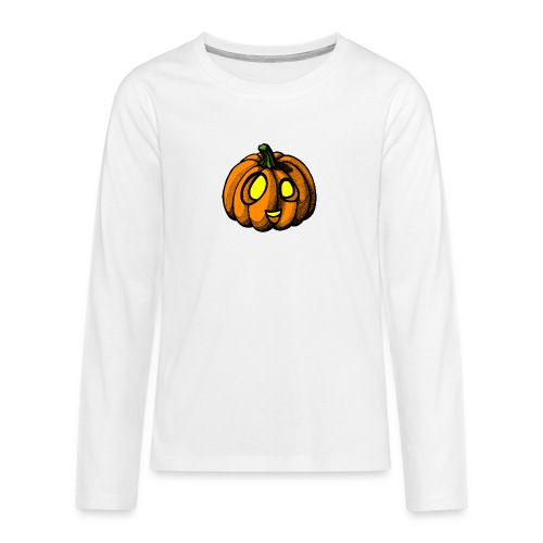 Pumpkin Halloween scribblesirii - Teenager premium T-shirt med lange ærmer