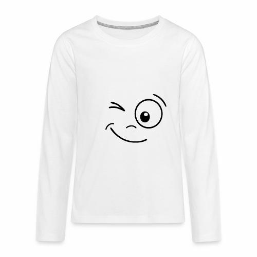 Gesicht zwinkern - Teenager Premium Langarmshirt