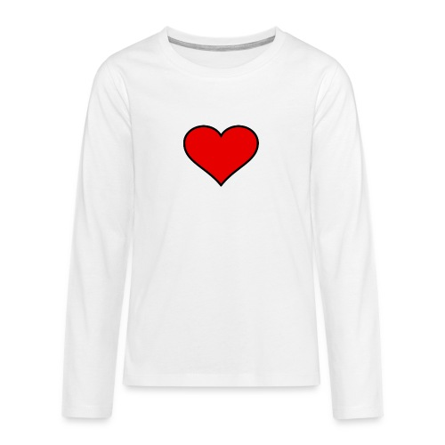 big heart clipart 3 - Långärmad premium T-shirt tonåring