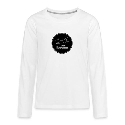 pilvimarjanlogomustaa - Teinien premium pitkähihainen t-paita