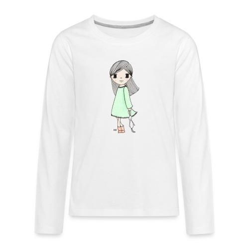 meisje met knuffel - Teenager Premium shirt met lange mouwen