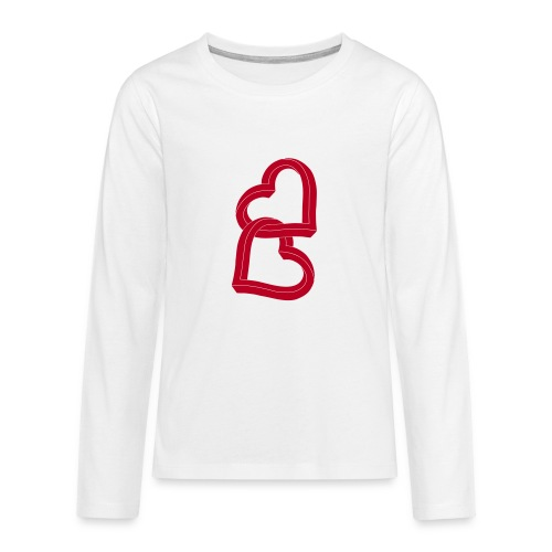 Due cuori uniti ca27 - Maglietta Premium a manica lunga per teenager