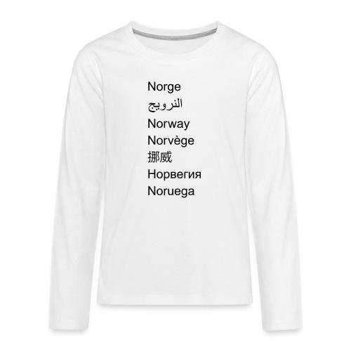 FN-Norge - plagget.no - Premium langermet T-skjorte for tenåringer