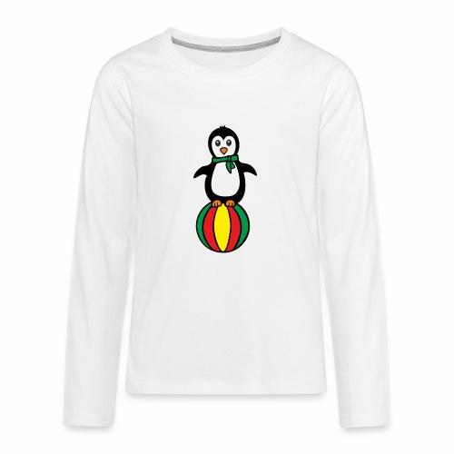 Pinguin auf einem Ball - Teenager Premium Langarmshirt